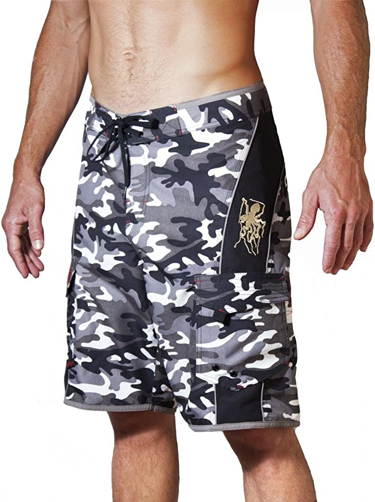 Maui Rippers Men's Camo Board Shorts - Embroidered Octopus   Quick Dry Triple Stitch Swim Trunks