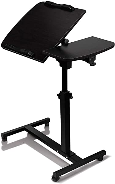 Laptop Desk Cart Adjustable Height 360 Swivel Mobile Notebook Table Portable Desk Sofa Bed Side Tables W Lockable Casters Black Adjustable Portable Notebook Desk 24 W X 16 D X 27 5 To 40 H