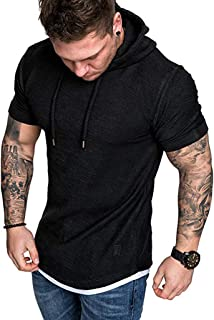 Short Sleeve Top for Mens Slim Fit Summer Fashion Pleats Raglan Hoodie T-Shirt Cotton Blouse
