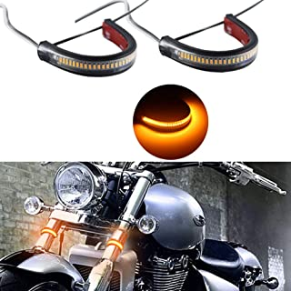 Miniclue Motorcycle Fork Amber LED Turn Signal Strip Lights Kit for Harley Davidson Front Rear Turning Indicator Lights Universal Victory Motorbike Lamps(2Pcs, 39mm-70mm)
