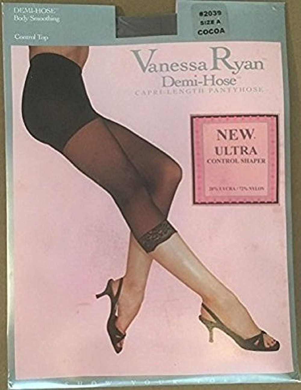 Vanessa Ryan Demi-Hose, Capri-length Pantyhose, New Ultra Control Shaper, Size A Weight 100-150 lbs, Height 4-9 to 5-4), 2039, Nude