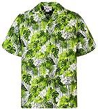 P.L.A. Pacific Legend - Camisa hawaiana original para hombre, S - 4XL, manga corta, bolsillo frontal, impresión hawaiana Green Palm Leaves White Hibiscus XL