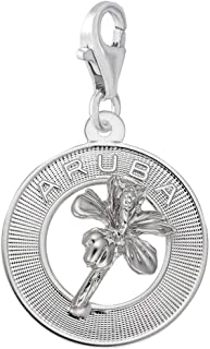 Rembrandt Charms Aruba Hibiscus Charm with Lobster Clasp
