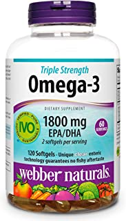 Sponsored Ad - Webber Naturals Fish Oil, 2,850 mg with 1,800 mg of Omega-3, 120 softgels, 60 Servings, for Heart Health