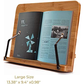SUNFICON Large Cookbook Stand Holder Bamboo Book Holder Stand Reading Rest Book Stand Textbook Recipe Music Document Tablet PC Display Stand Collapsible Adjustable Tray Family Friend Student Gift Idea