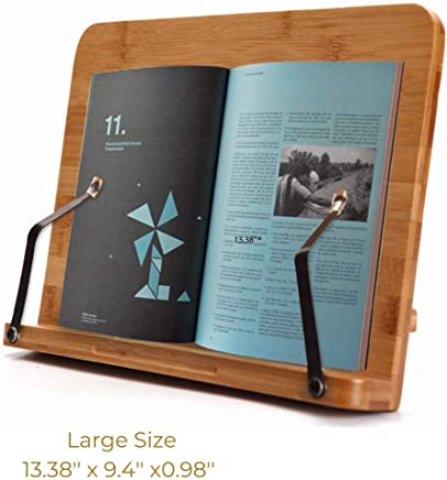 SUNFICON Large Book Holder Cookbook Stand Bamboo Reading Rest Book Stand Textbook Magazine Recipe Music Document Tablet PC Display Stand Collapsible Adjustable Tray Gift Idea for Family Friend Student