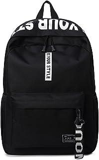 DNFC Canvas Schulrucksack Mädchen Jungen Rucksack Fashion Schulranzen Teenager Schultaschen Freizeitrucksack Mode Kinderrucksack Daypack Backpack Schwarz