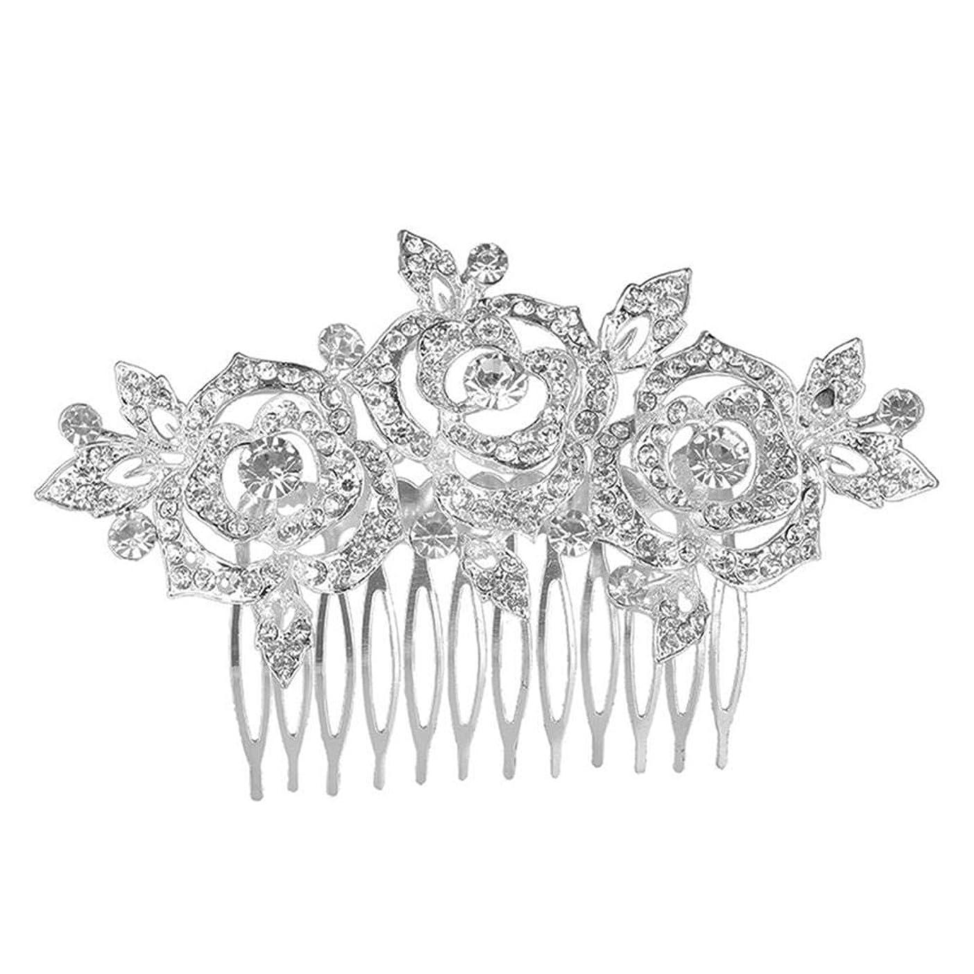 単なる啓発する光髪の櫛挿入櫛花嫁の髪櫛クラウン髪の櫛結婚式の付属品櫛の髪の櫛花の櫛の櫛ブライダルヘッドドレス