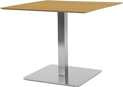 TENZO Chill Table Carrée, Plateau en Panneaux MDF ép. 19 mm recouverts de placage Naturel. Piètement, Socle brossé, Chêne/Acier, 75 x 70 x 70 cm