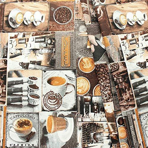 STOFFKONTOR Dekostoff Stoff Bedruckt Coffee - Meterware, braun-Multicolor - zum Nähen von Tischwäsche, Kissen, Vorhängen, Dekoartikeln UVM.