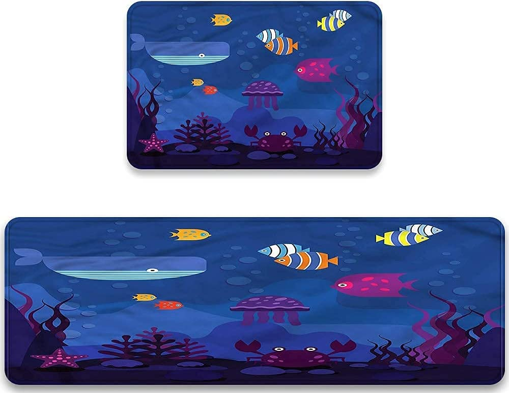 Midetoy Kitchen Rugs Sets 2 Cushioned Piece Whale Fish Los Many popular brands Angeles Mall Aquarium