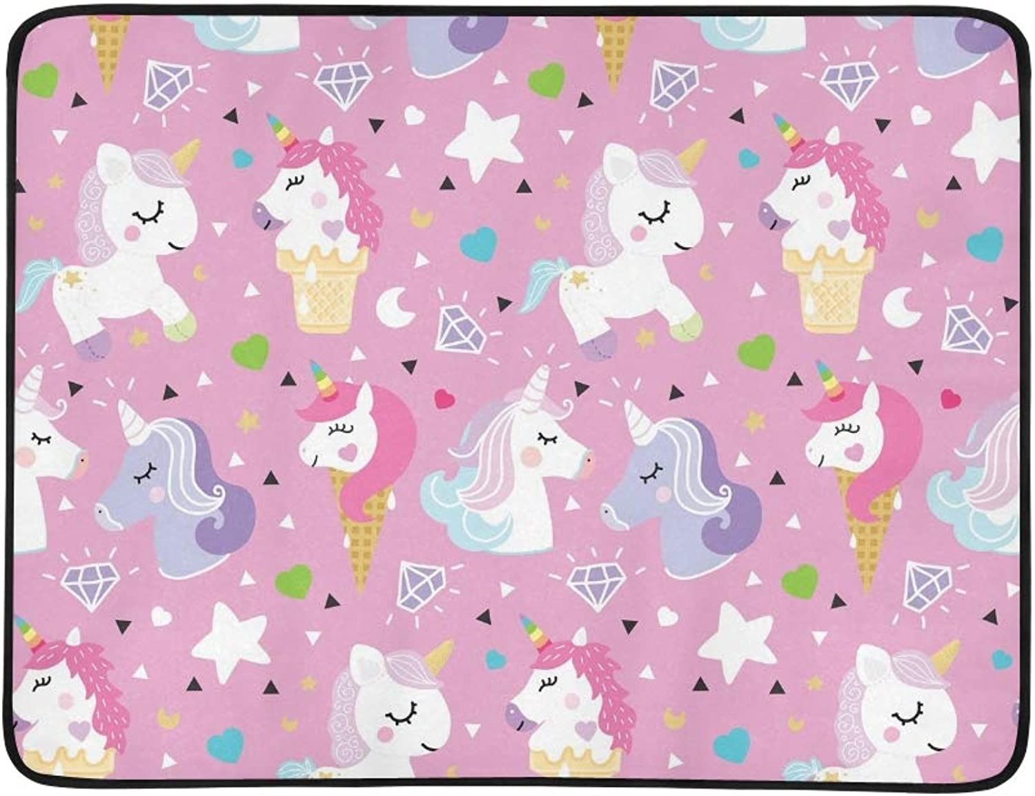 Unicorn Pony Ice Cream Triangle Portable and Foldable Blanket Mat 60x78 Inch Handy Mat for Camping Picnic Beach Indoor Outdoor Travel