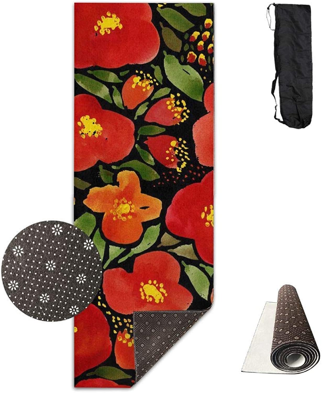 70inch Long 28inch Wide Comfort Velvet Yoga Mat, Watercolor Red Poppy Flower Mat Carrying Strap & Bag