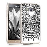 kwmobile Carcasa Compatible con Samsung Galaxy J3 (2016) DUOS - Funda de TPU y Sol hindú en Negro/Blanco