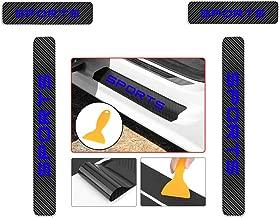 for Hyundai New Santafe Veloster Azera rohens Genesis Carbon Fiber Door Sill Protector Scratch Door Sill Guard 4D Welcome Pedals Guards Threshold Sticker Sticker Blue 4Pcs