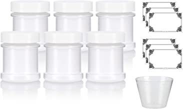Natural Spice Sifter Jar with Airtight White Lids holds 1 oz / 30 ml / 28 grams each (6 pack) + Labels and Measuring Cup