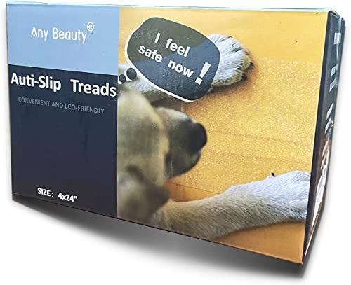 """15-Pack(4""""x 24""""),Non-Slip Clear Adhesive Stair Treads,Translucent Safety Stair Traction Hardwood Treads,PVC-Free Anti..."""