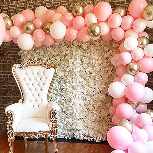 17 piece balloon Garland Kit Arch, Balloon Arch, Pink, White & Gold Balloons. Birthday, Wedding, Baby Shower Balloon Arch