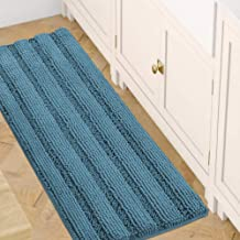 Chenille Bath Mat Non Slip Bath Mat for Bathroom Extra Thick Soft Striped Bath Rug Water Absorbent Shag Carpet for Indoor ...