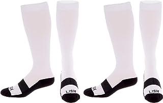 2 Pack LISH Bolt Running Compression Socks - 20-30 mmHg Graduated Firm Lightweight Knee High Sport Socks for Men & Women