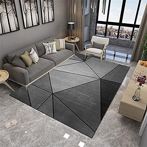 Decoracion Dormitorio Juvenil Alfombras Sala de Estar Alfombra Grande Moderno Minimalista Triángulo Diseño Negro Gris Sigitable Antideslizante Alfombra De Juego Bebe 120x160cm