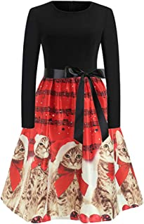 Womens Vintage Cat Print Long Sleeve Christmas Evening Party Swing Dress
