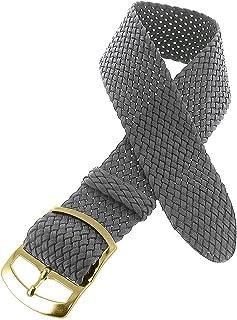 Shopkdo Bracelet de Montre 18mm Gris en Nylon Perlon Boucle Dorée
