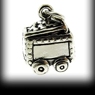 925 Sterling Silver Iron Ore Mining Cart Charm Vintage Crafting Pendant Jewelry Making Supplies - DIY for Necklace Bracelet Accessories by CharmingSS