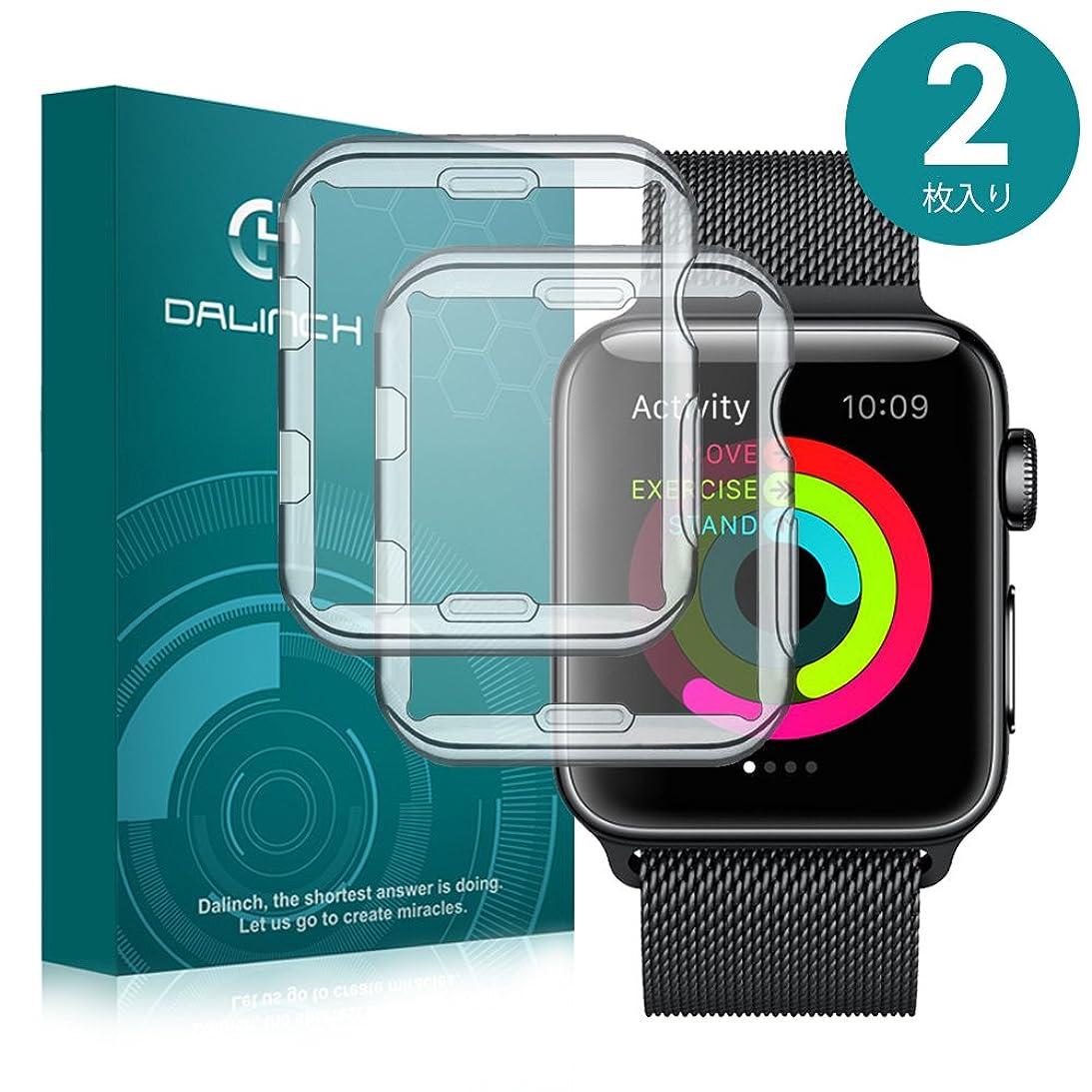 本質的に仕様許されるApple Watch 42mm ケース/フィルム Dalinch Apple Watch ケース 耐衝撃 フルカバー 装着簡単 TPU全面保護ケース For Apple Watch Series 3/2/ Hermes/Nike+ Edition (2枚 42MM 透明)