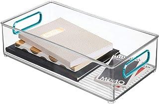 mDesign boite stockage avec poignées intégrées – boîte de rangement en plastique sans BPA pour la cuisine, la salle de bai...