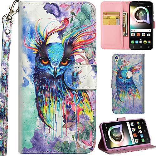 Ooboom Alcatel Shine lite 5080X Hülle 3D Flip PU Leder Schutzhülle Handy Tasche Hülle Cover Ständer mit Trageschlaufe Magnetverschluss für Alcatel Shine lite 5080X - Colorful Owl