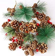 Cllayees 180 PCS Artificial Pine Cones Pine Branch Set, Fake Natural Pinecones Acorns Red Berries Christmas Decor Ornament...