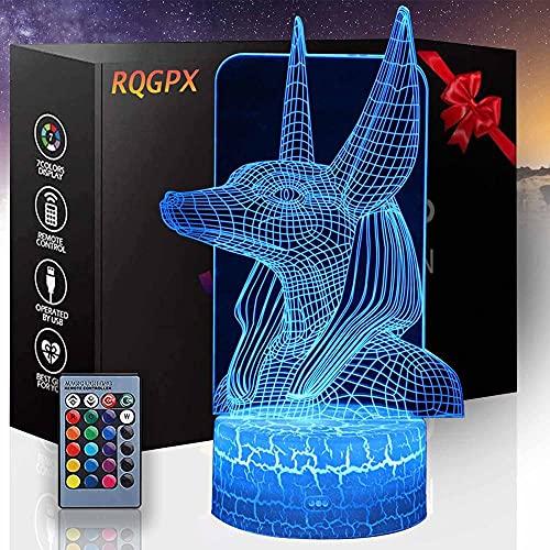 Anubis 3D ilusión LED noche lámpara niños lámpara regalo perfecto para niños y habitación decoración Darth Vader personajes