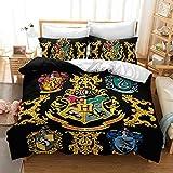 Proxiceen Harry Potter Juego de ropa de cama reversible, funda nórdica con funda de almohada a juego para cama individual (3,220 x 240 cm + 50 x 75 cm x2)