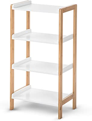 House of Living Art White Bookcase Shelf - 4 Tier Bamboo and MDF Shelving