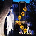 Halloween-Decorations-Outdoor-Lights, Solar Powered Skeleton Wind Chime Lights with 6 LED, Waterproof Solar Halloween Lights Decorations for Outdoor Halloween, Party, Christmas (Skeleton Decor )