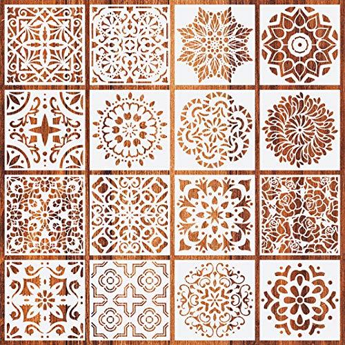 iSuperb 16 Stück Mandala Dotting Schablone Wiederverwendbar Malerei Schablone Mandala Schablone Mandala Stencils für DIY Wand Hauptdekoration (16 Mandala Schablone)
