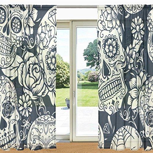 mydaily Sugar Skull mit Blumenmuster Sheer Fenster und Tür Vorhang 2Felder 139,7x 213,4cm Rod Pocket Panels für Wohnzimmer Schlafzimmer Decor, Polyester, multi, 55