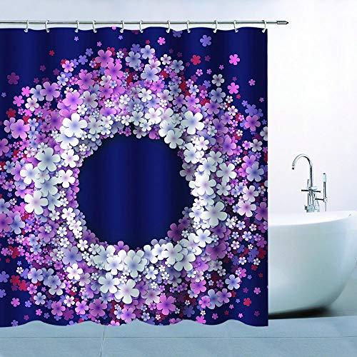 N\A Girlande Duschvorhang Dekor Weiß Rosa Lila Rote Blumen Girlande Dunkelblauer Hintergr& Badezimmer Vorhang Wasserdichtes Polyester