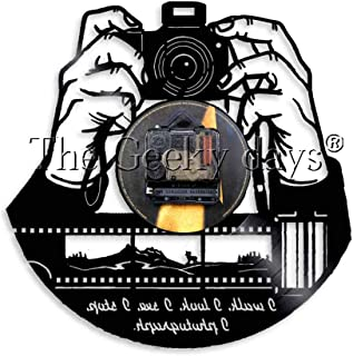 GVC Cámara fotográfica Reloj de Pared Foto Retro Reloj de Pared de Vinilo Estudio fotográfico Logotipo Cámara fotógrafos Regalo