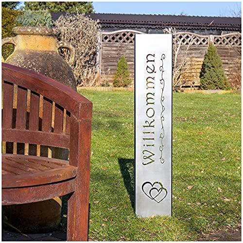 teileplus24 GS01 Willkommen Gartenstecker Gartenschild | Edelrost Garten Deko |3D Abkantung | 120cm x 21cm, Design:Doppelherz
