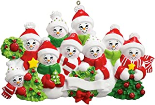 Personalized Snow Family of 9 Christmas Tree Ornament 2019 - Parent Child Friend Winter Hat Hold Glitter Wreath Ribbon Red Hug Kid Activity Tradition Gift Year - Free Customization (Nine)