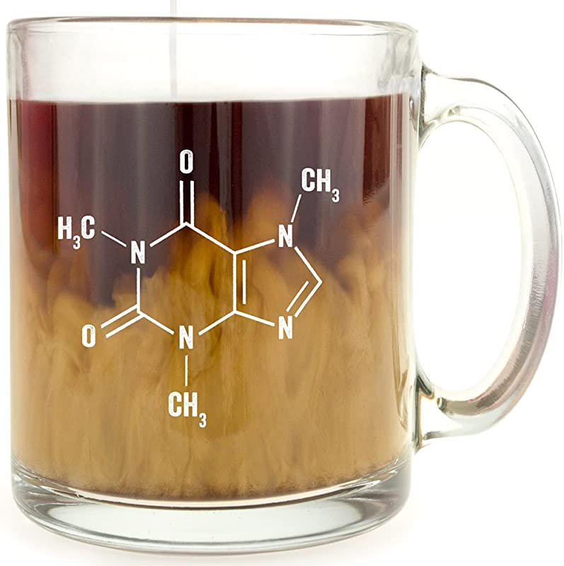 Caffeine Molecule Glass Coffee Mug Makes A Great Gift For Science Buffs