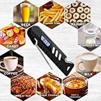 T98 Digital Meat Thermometer, Cooking Food Thermometers with IP67 Waterproof and Foldable Stainless Steel Probe Large LCD Screen Instant Read for Kitchen,Grill, BBQ,Candy,Sugar,Milk