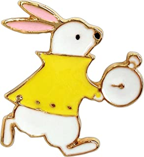 Alice in Wonderland - White Rabbit Running with Clock - Enamel Pin