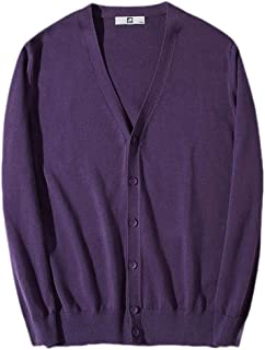 Mogogo Mens Solid V Neck Button Heavy Cotton Trim-Fit Baggy Cardigan Sweater