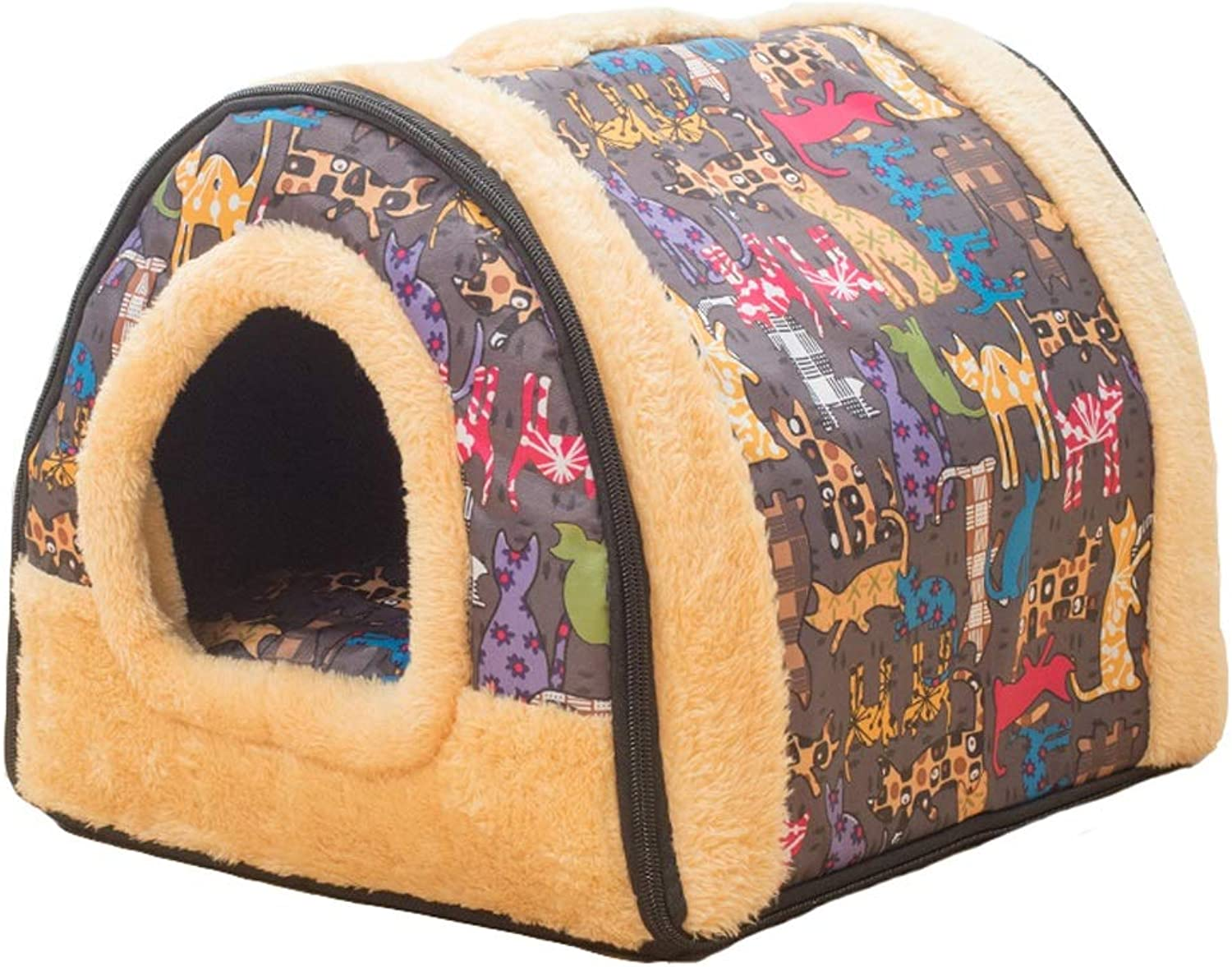 Kennel, 2 in 1 Dog Houses Small MediumSized Dogs Washable Dog Beds Cat Litter Yurt Winter Warm Pet Supplies (color   A, Size   L)