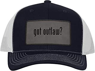One Legging it Around got Outlaw? - Leather Grey Patch Engraved Trucker Hat