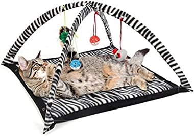 MARSPOWER Cat Play Tent with Hanging Toys Balls Cat Bed Tent Kitten Mat Exercise Activity Playing Blanket Portable Pet Suppli