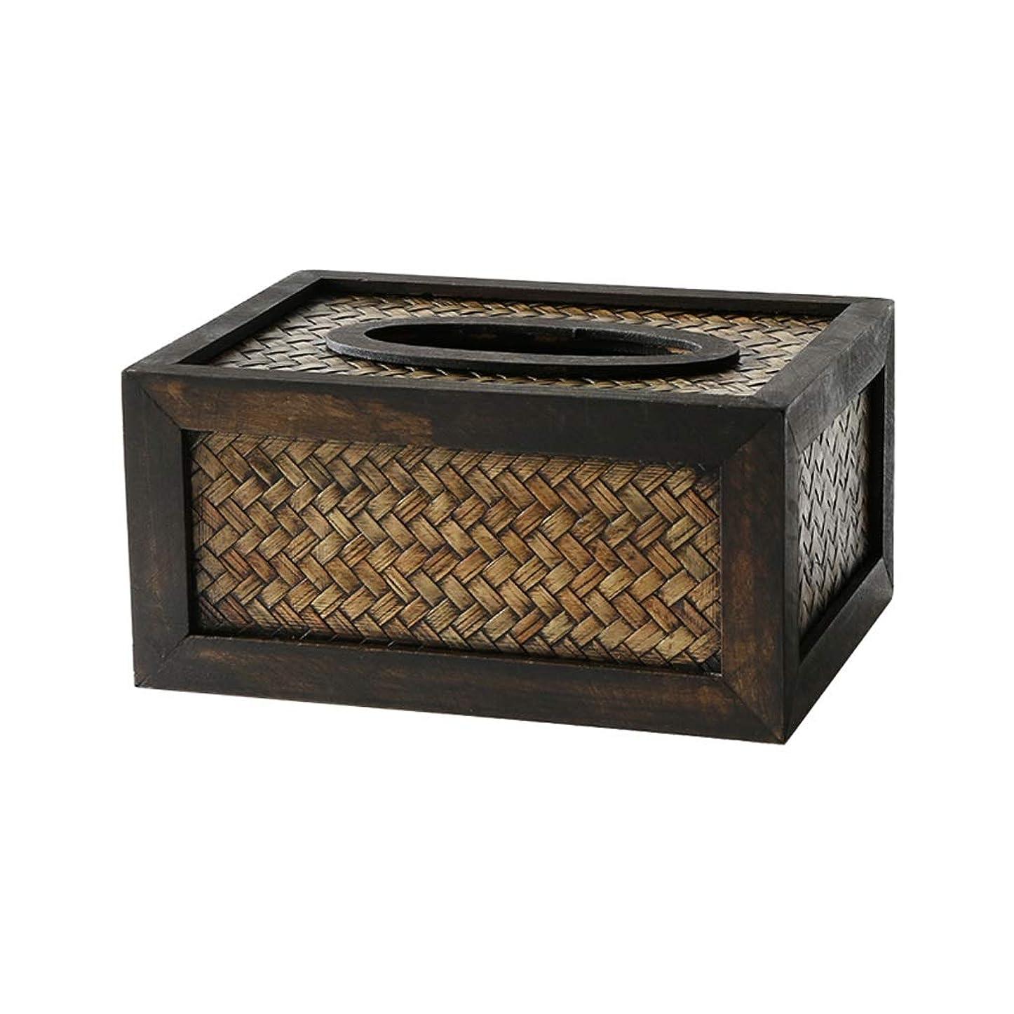 類人猿悲しむマンモス竹ティッシュボックスレトロ長方形ブラックトレイクリエイティブ木製リビングルームティッシュボックス JSFQ